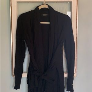 Gently worn black All Saints tie front sweater